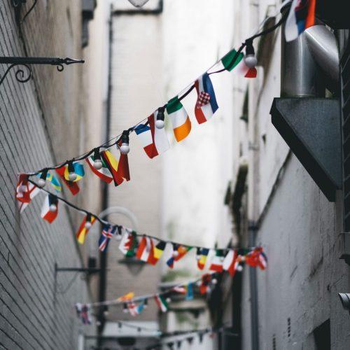 Flags in street